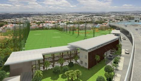 Sân tập golf Asian nhìn từ trên cao