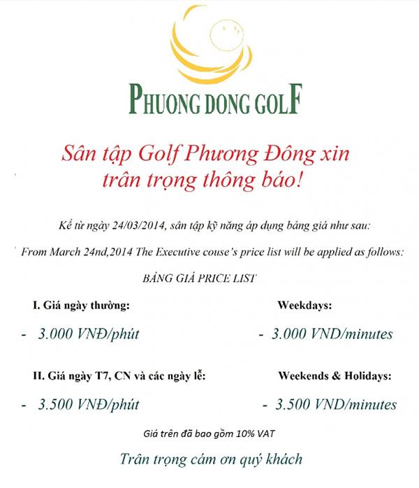 Địa chỉ sân tập golf Phương Đông ở Hà Nội
