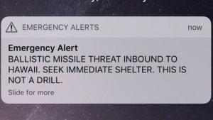 Tin nhắn báo động về lửa đạn đạo đang tiến về phía Hawaii