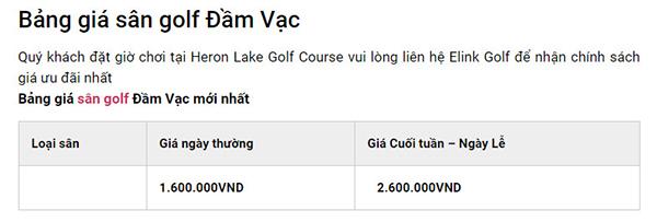 bảng giá sân golf đầm vạc