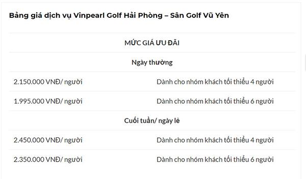 bảng giá sân golf vũ yên