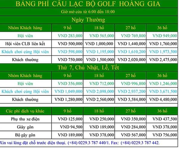 bảng phí sân golf hoàng gia